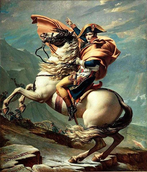 Napoleón según David. Atención a las piedras del camino.