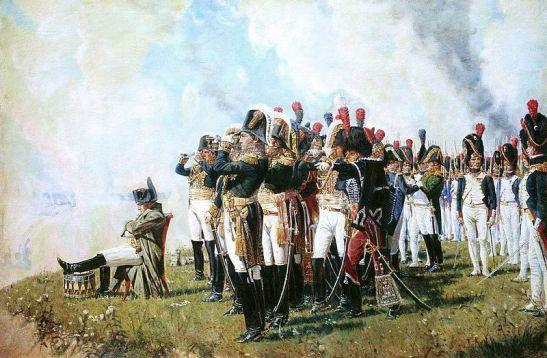 Napoleón descansa, piensa y apoya su pierna en un tambor de guerra.