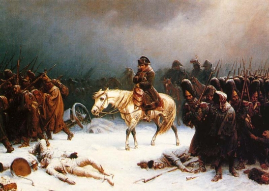 Napoleón derrotado, se retira de Moscú.